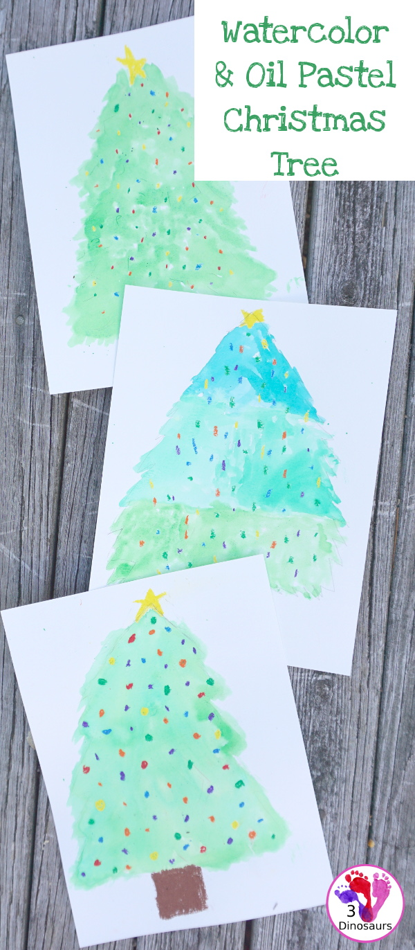 Watercolor and Oil Pastels Christmas Trees - Easy to do Christmas watercolor painting with great for open ended design - 3Dinosaurs.com