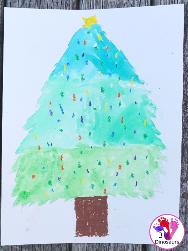 Watercolor and Oil Pastels Christmas Trees - Easy to do Christmas watercolor painting with great for open-ended design - 3Dinosaurs.com