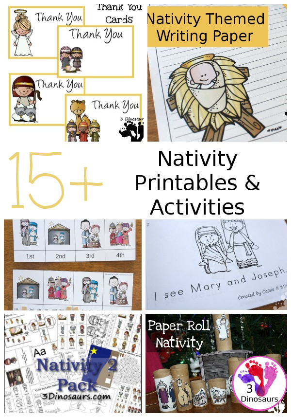 10+ Nativity Printables & Activities - ABCs, numbers,printables and more on 3Dinosaurs.com