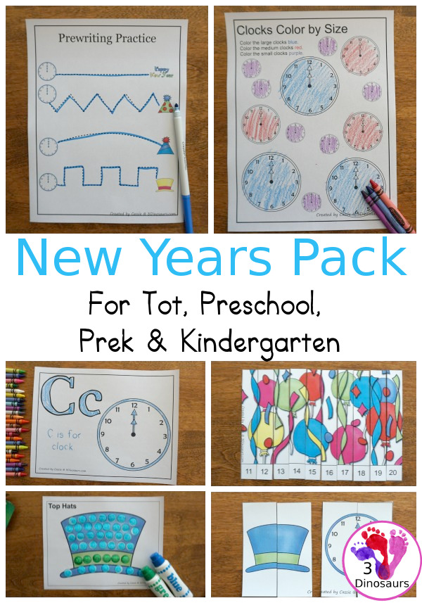 Free New Years Packs for Tot, Preschool, PreK and Kindergarten - with a mix of hands-on and no-prep activites for New Years - 3Dinosarus.com