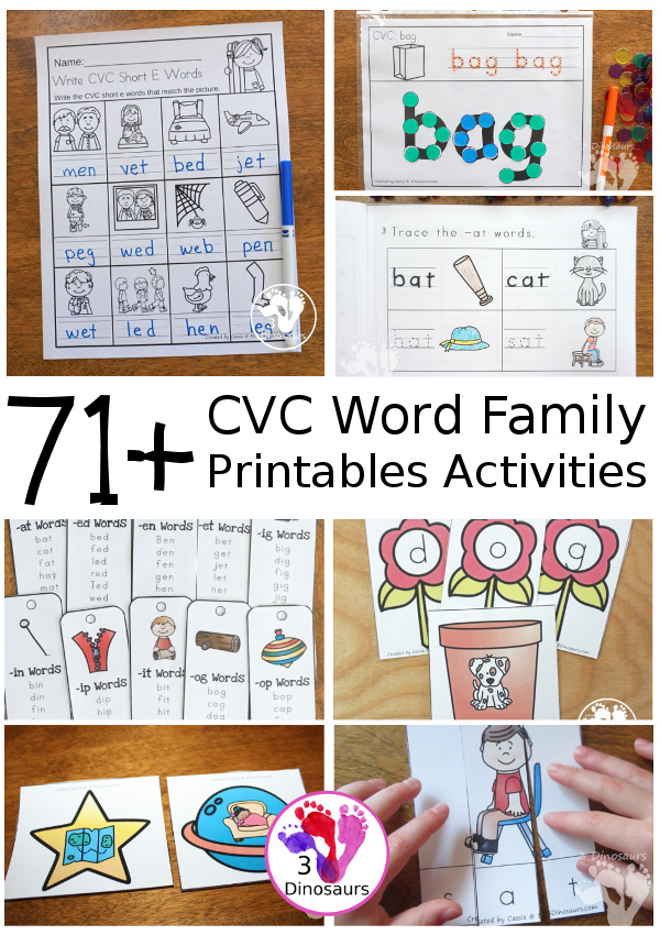 CVC Word Family Activities & Printables on 3Dinosaurs.com