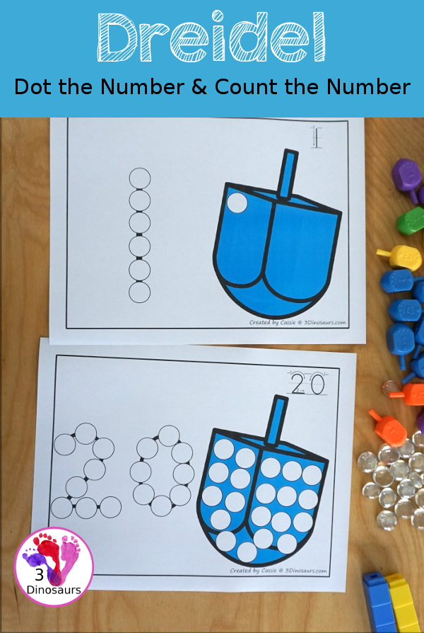 Dreidel Dot the Number Count the Number - an easy way to work on numbers from 0 to 20 with fine motor work and counting with this great Hanukkah theme for PreK and Kindergarten - 3Dinosaurs.com