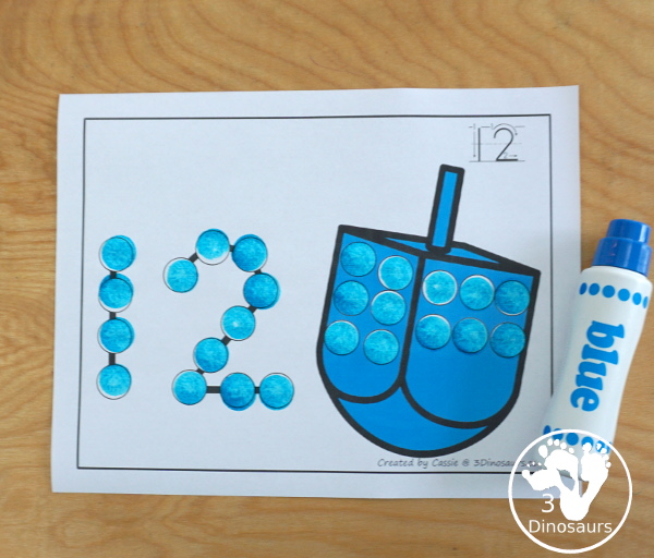 Dreidel Dot the Number Count the Number - hands-on activities you can do with the dreidel to make it a fine motor activity with counting. - 3Dinosaurs.com