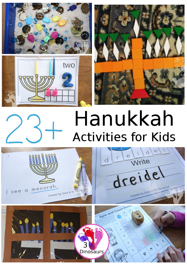 23+ Hanukkah Activities & Printables for kids - ABCs, numbers, math, sensory bins, crafts, and more on 3Dinosaurs.com