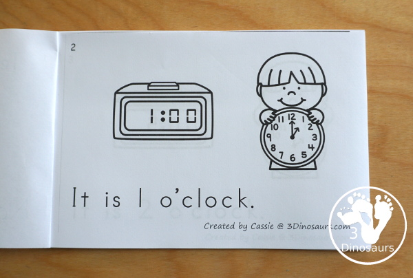 Free Hourly Telling Time Easy Reader Book - A great way to work on hourly time with reading and seeing the digital and analog clocks. There is also a version with fill in the digital clock and analog clocks. - 3Dinosaurs.com