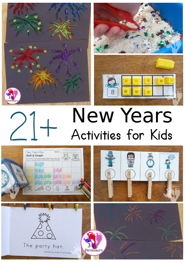 21+ New Years Printables & Activities - themed packs, ABCs, numbers, easy reader books, crafts, and more - 3Dinosaurs.com #printablesforkids  #newyearsprintables