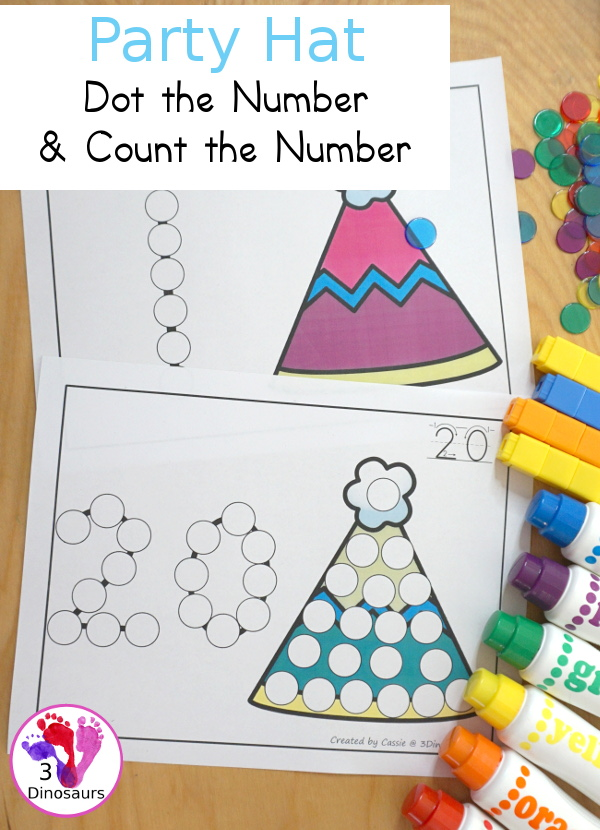 Party Hat Dot the Number Count the Number - easy way to work on numbers from 0 to 20 with fine motor work and counting with this great party and New Years themed for PreK and Kindergarten - 3Dinosaurs.com