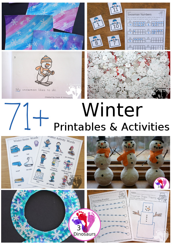 71+ Snow and Winter themed activites & printables - with math, language, ABCs, numbers, crafts, painting, sensory bins and more - #winteractivitiesforkids #3dinosaurs #printablesforkids #craftsforkids - 3Dinosaurs.com