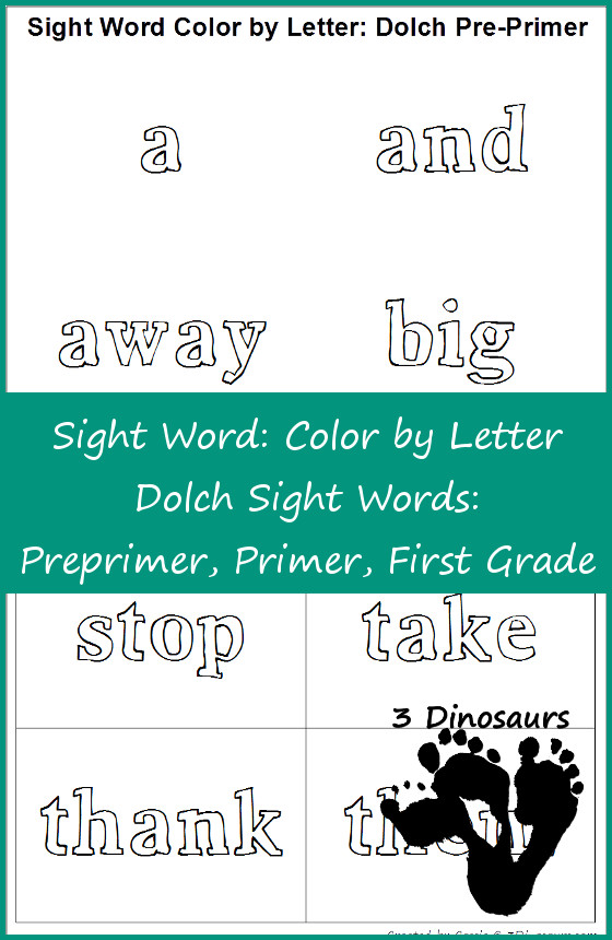 Free Sight Word Color by Letter: Dolch Sight Words: Preprimer, Primer, First Grade
