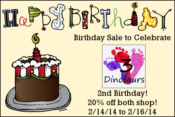 2nd Birthday Sale - 3Dinosaurs.com