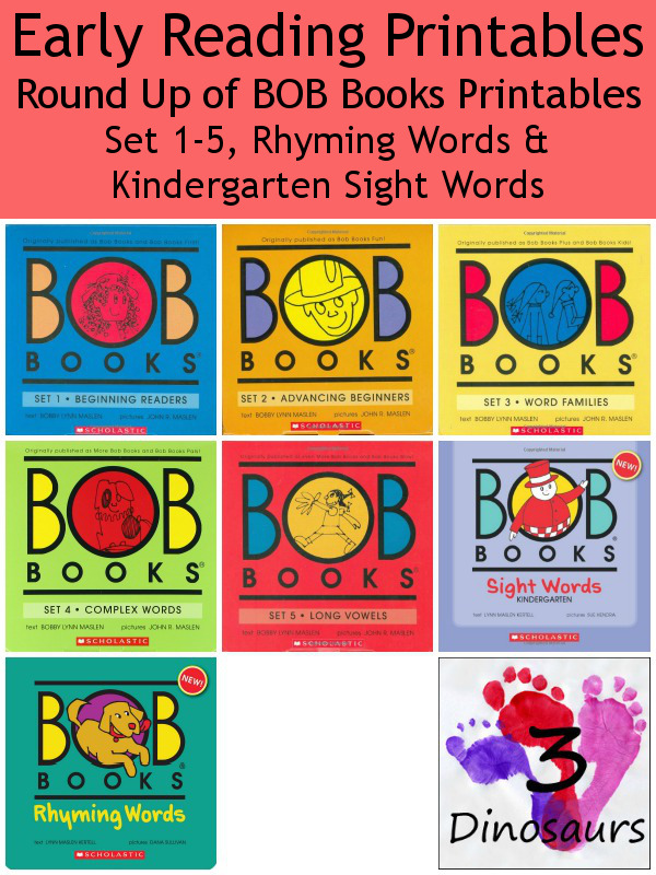 BOB Books Printables from 3 Dinosaurs