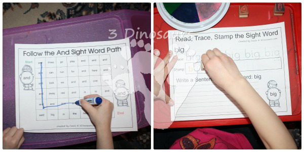 Romping & Roaring Preprimer Sight Words - 3Dinosaurs.com