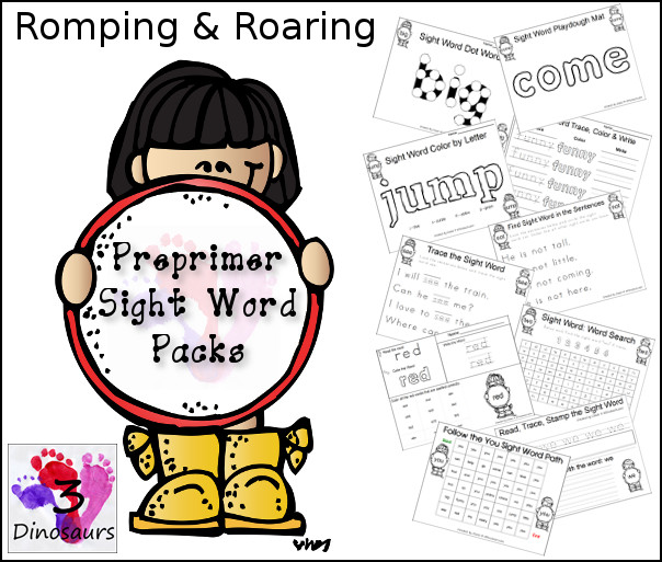 Romping & Roaring Preprimer Sight Word Packs - 3Dinosaurs.com