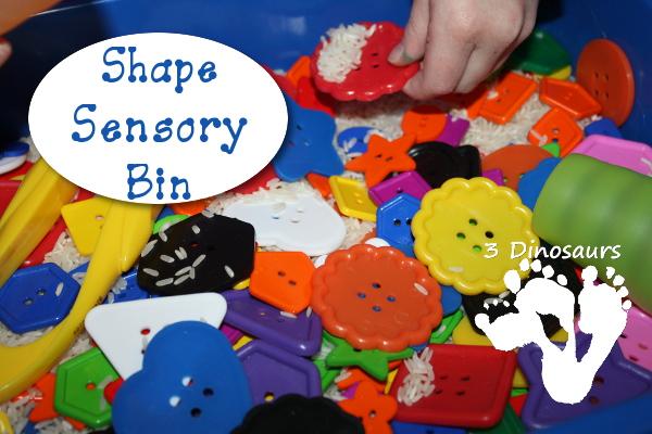 Shape Button Sensory Bin - 3Dinosaurs.com