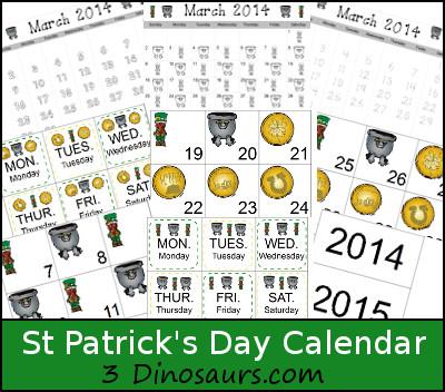 Free St Patrick's Day Calendar - 3Dinosaurs.com