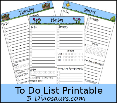 Free To Do List Printable - 3Dinosaurs.com