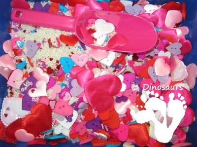 Valentines Heart Sensory Bin - 3Dinosaurs.com