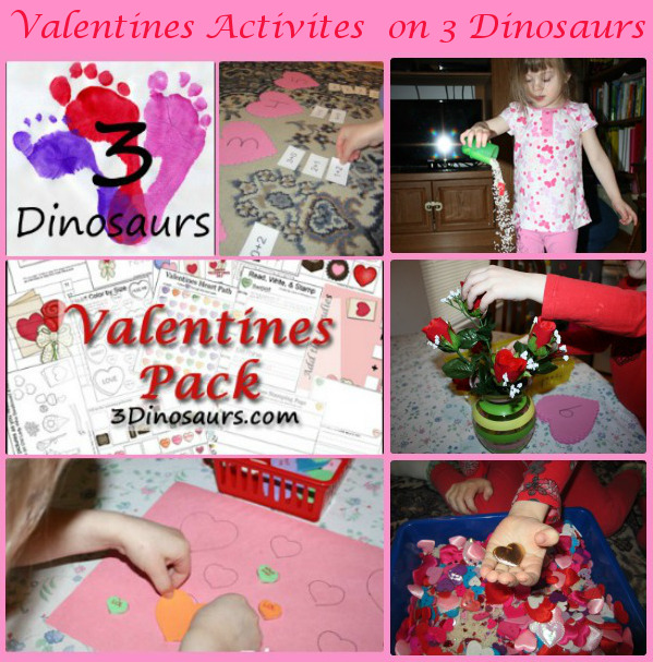 Valentines Activites from 3 Dinosaurs