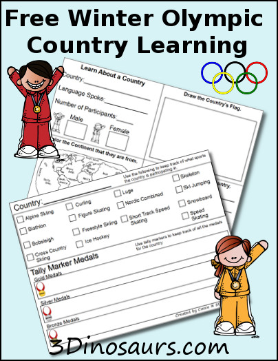 Free Winter Olympics Country Learning - 3Dinosaurs.com