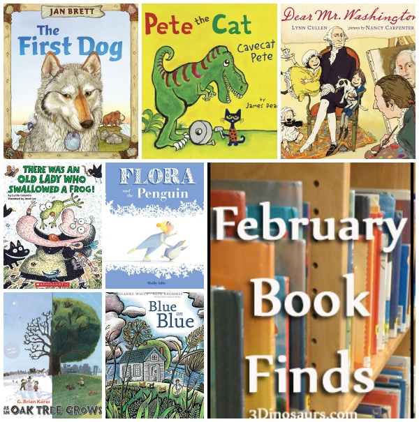 February 2015 Book Finds: George Washington, Pete the Cat, rain storm, There was an old lady, wordless, animal - 3Dinosaurs.com