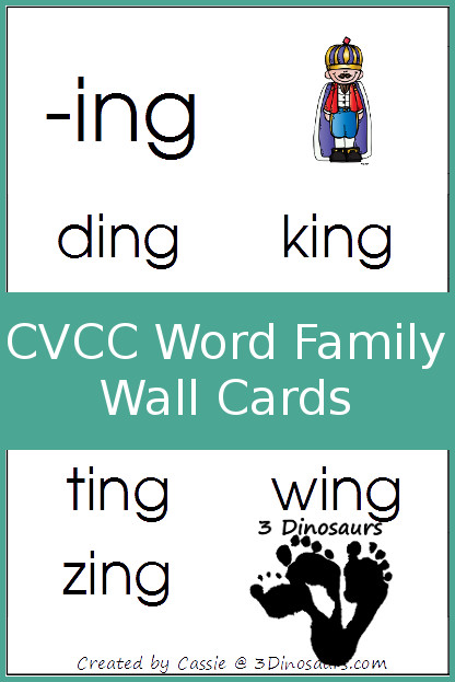 Free CVCC Word Family Wall Cards - 3Dinosaurs.com