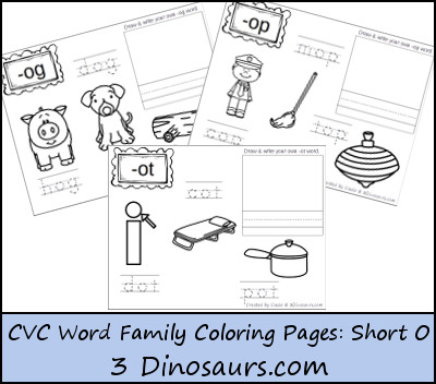 New CVC Word Family Coloring Pages: Short O Vowel | 3 Dinosaurs