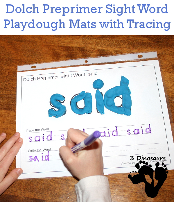 Free Dolch Preprimer Sight Words Playdough Mats with Tracing - 3Dinosaurs.com