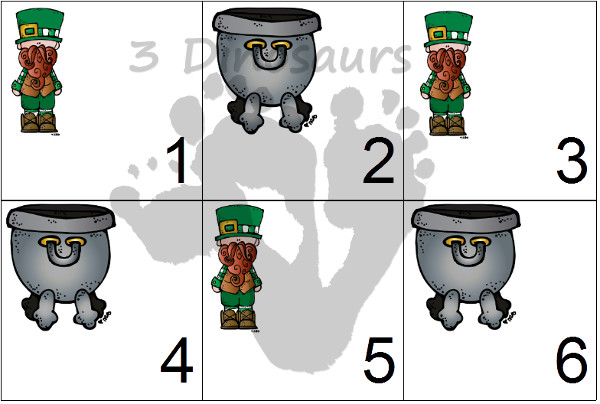 Free 2016 St Patrick's Day Calendar Printable: 2 calendar card sets with 5 single page printables - 3Dinosaurs.com