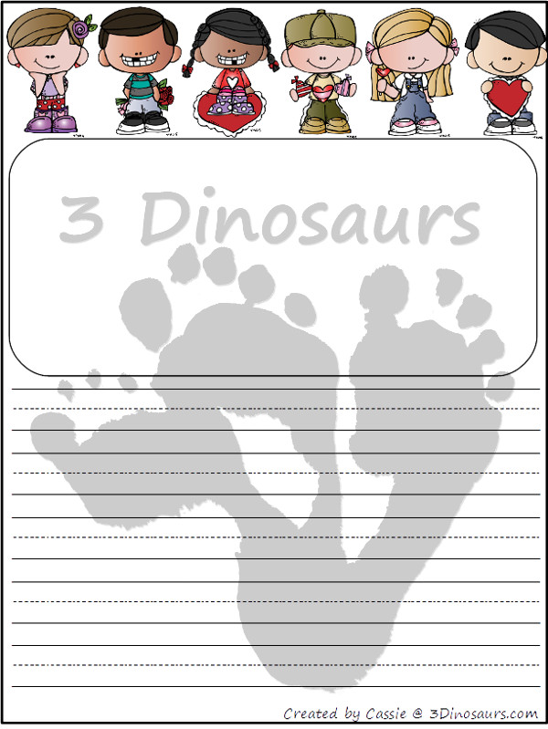 Free Valentines Writing Paper Printable - 3Dinosaurs.com