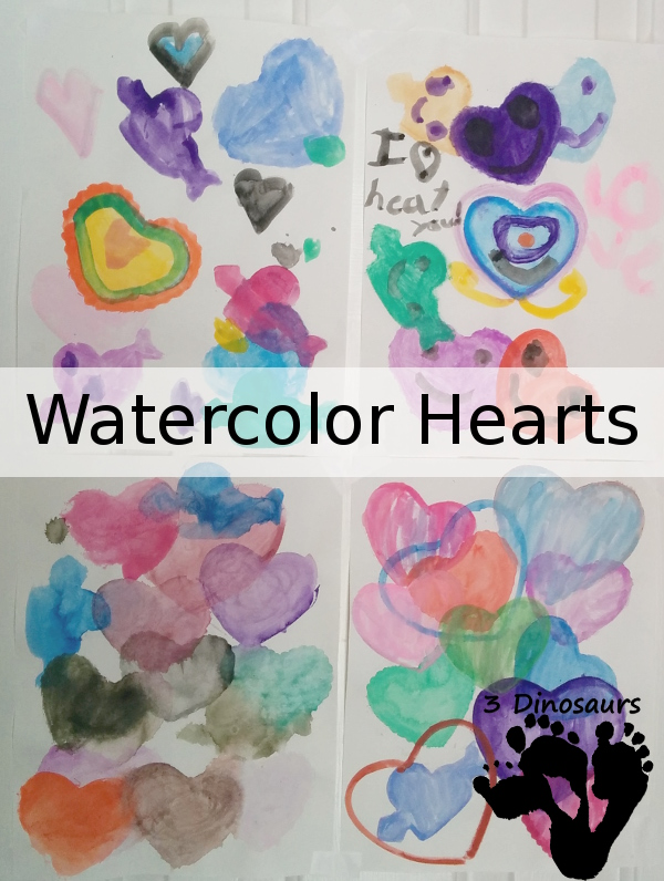 Water Color Hearts - 3Dinosaurs.com