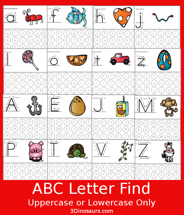 Number Names Worksheets free printable alphabet letters upper and lower case : Free ABC Letter Find Uppercase or Lowercase Printable | 3 Dinosaurs