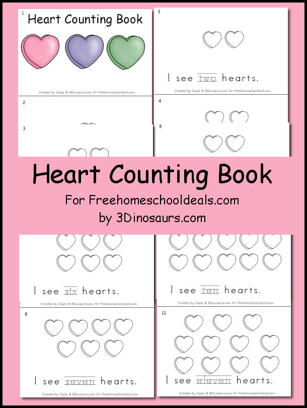 Free Heart Counting Book - 3Dinosaurs.com