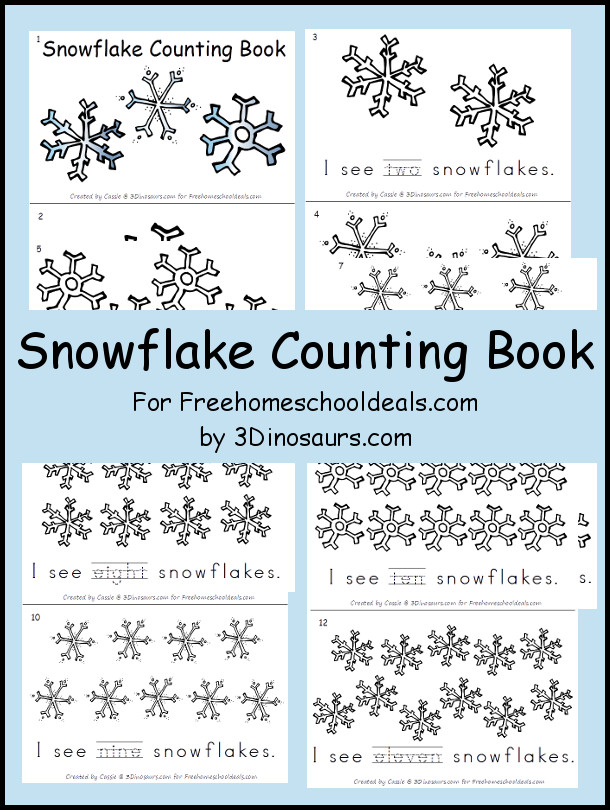 Free Snowflake Counting Book - numbers 1 through 11 - 3Dinosaurs.com