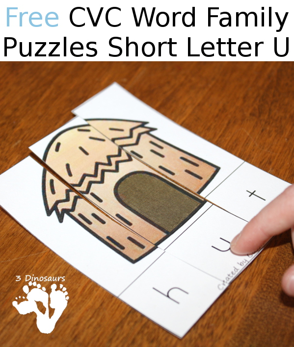 Free CVC Word Family Puzzles Short U:  -ug, -un, -ut - 3Dinosaurs.com