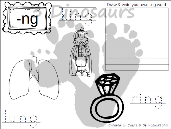 Free Digraph Coloring Pages:  KN-, -NG, PH, QU- easy no prep coloring page - 3Dinosaurs.com