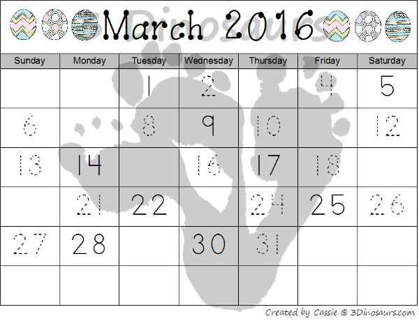 Free 2016 Easter Calendar Printable: 2 calendar card sets with 5 single page printables - 3Dinosaurs.com