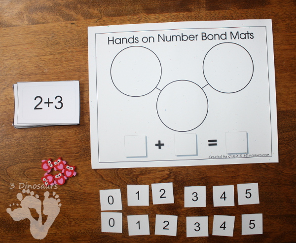 Free Hands on Number Bond Mats: Addition & Subtraction - 3Dinosaurs.com