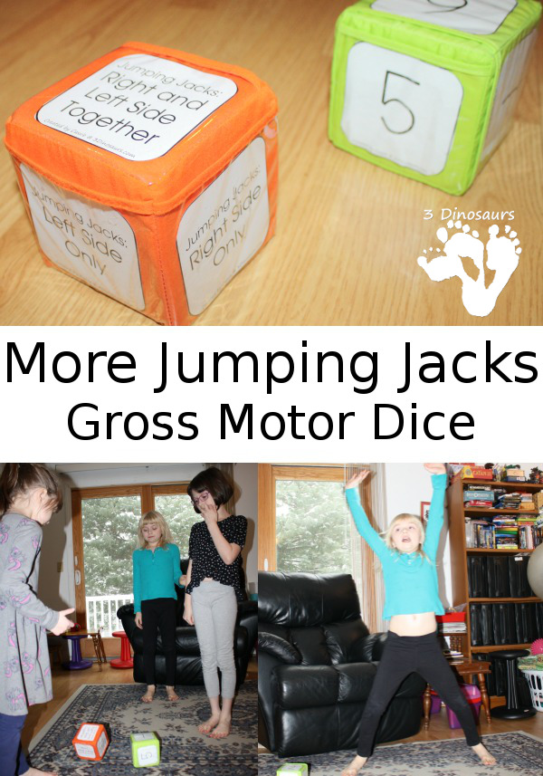 Gross Motor Fun: Jumping Jacks Dice: One Side only free printable - 3Dinosaurs.com