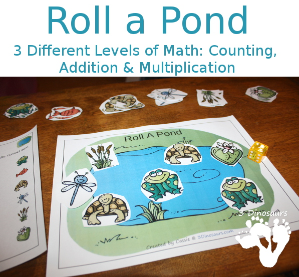 Free Roll A Pond Printable - 3 Levels of learning: counting, addition, and multiplication - 3Dinosaurs.com