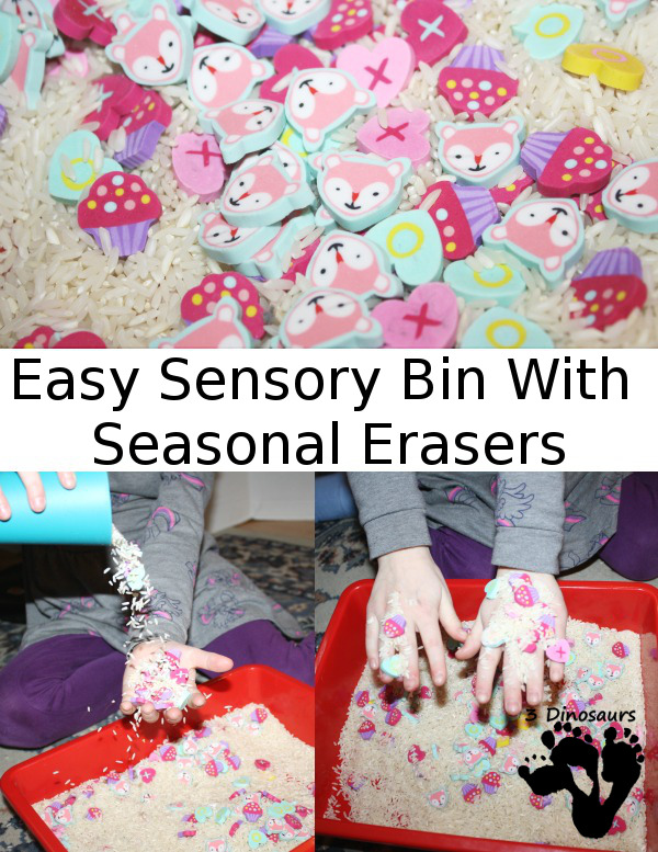 Easy Sensory Bin with Seasonal Erasers - easy to put together and fun to play in - 3Dinosaurs.com