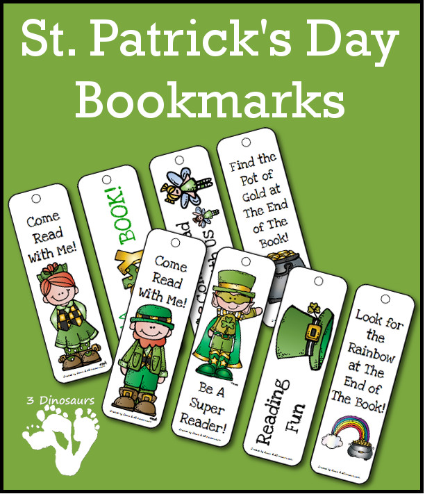 Free St Patricks Day Bookmarks - 2 pages of printables - 3Dinosaurs.com