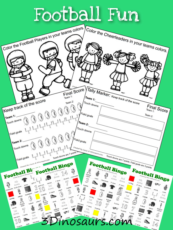 Football Pack Extra - great scoring and coloring pages for kids for the Superbowl or Football Season - 3Dinosaurs.com