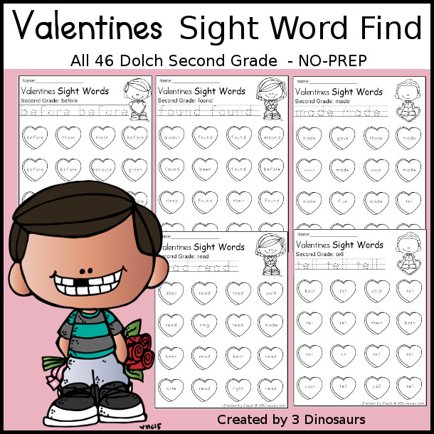 Valentines Sight Word Find: First Grade - trace & dot the word - 3Dinosaurs.com