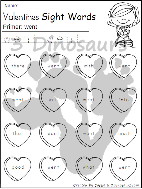 Valentines Sight Word Finds: Dolch Preprimer, Primer, First Grade, Second Grade, and Third Grade $ - 3Dinosaurs.com