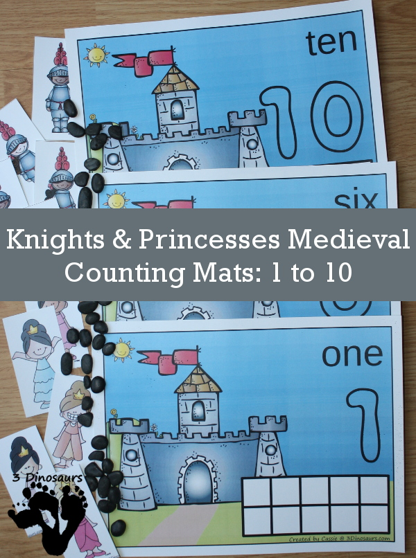 FREE Hands-On Knights & Princesses Medieval Counting Mat with numbers 1 to 10 with ten frames and counting items - 3Dinosaurs.com