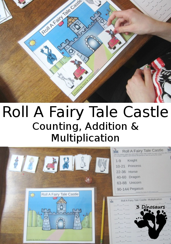 Free Fun Math: Roll a Fairy Tale Castle - count, addition, and multiplication in a fun hands-on math games - 3Dinosaurs.com