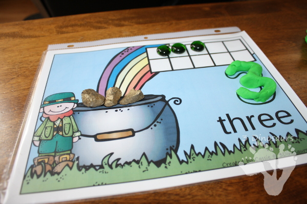 Free St Patrick's Day Themed Counting Mats: 1 to 10 - hands-on math with playdough number and ten frames - 3Dinosaurs.com