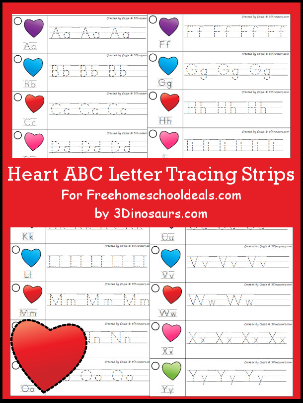 Free Valentines Theme ABC Tracing Strips - with uppercase and lowercase together - 3Dinosaurs.com
