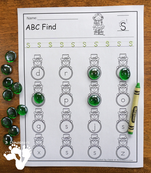 Easy to Use No-Prep St Patrick's Day ABC Finds: with options for uppercase and lowercase letters- 3Dinosaurs.com