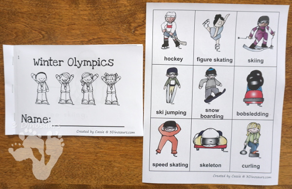 FREE Winter Olympics Easy Reader Book 10 page book for kids to read - 3Dinosaurs.com